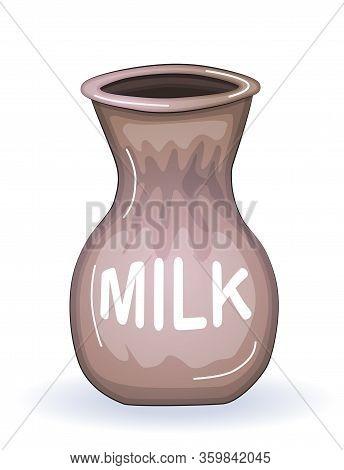 Fresh Milk Illustration. Ceramic Jug. Beautiful Pottery. Ethnic Crockery. Farm Product.