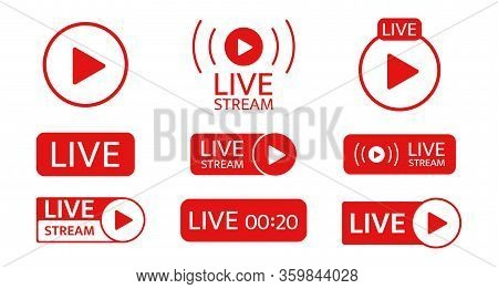 Live Stream Icon Set. Social Media Template. Live Streaming, Video, News Symbol On Transparent Backg