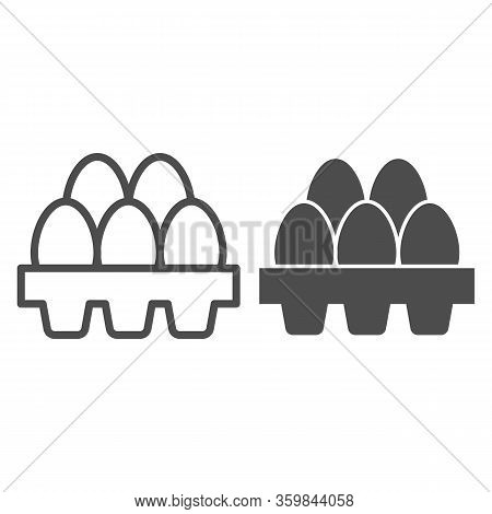 Packaging Of Fresh Eggs Line And Solid Icon. Five Egg In Carton Package Outline Style Pictogram On W