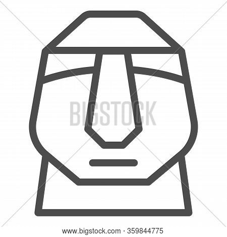 Easter Island Stone Moais Line Icon. Easter Island Tiki Head Statue Outline Style Pictogram On White