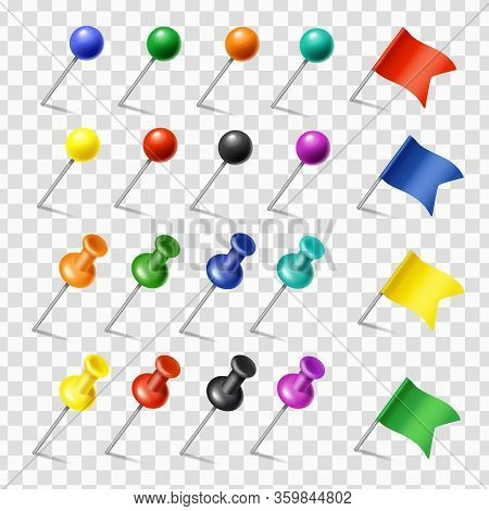 Colored Pins, Flags And Tack Pointer. Pinned Markers Vector Set. Office Supplies