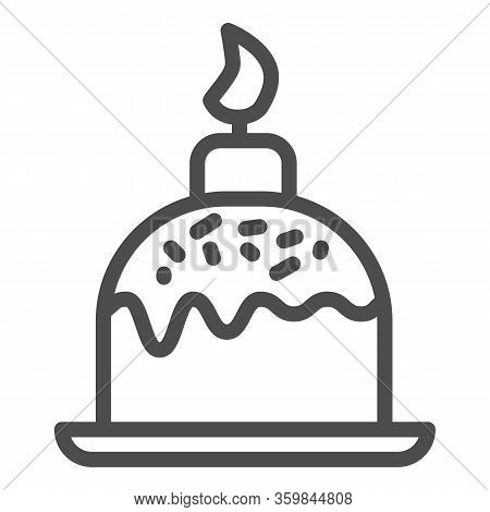 Easter Cake On Plate With Candle Line Icon. Traditional Paschal Dessert With Sprinkles Outline Style