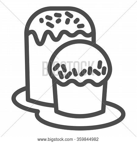 Two Easter Bread On Plate Line Icon. Traditional Paschal Dessert Outline Style Pictogram On White Ba