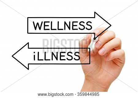 Hand Writing A Concept Illness Or Wellness On Two Opposite Arrows With Marker On Transparent Wipe Bo
