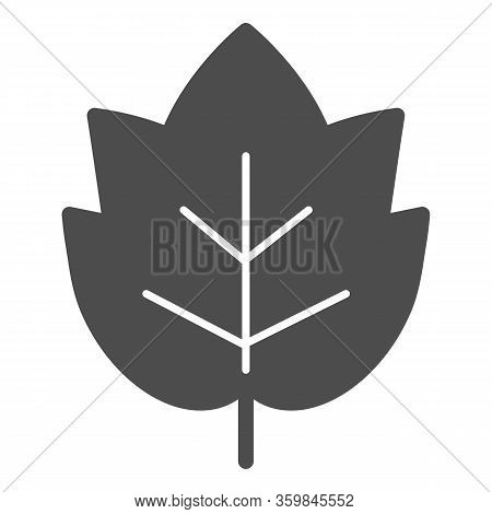 Grape Leaf Solid Icon. Wine Leaf Emblem Or Logo Glyph Style Pictogram On White Background. Winery An