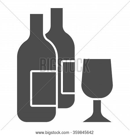 Wine Bottles And Glass Solid Icon. Two Alcohol Drink Bottle And Wineglass Glyph Style Pictogram On W