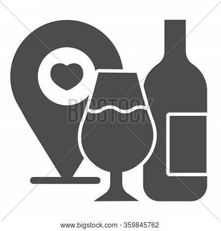 Wine Location Pin With Wineglass And Bottle Solid Icon. Wine Point Logo With Heart Glyph Style Picto