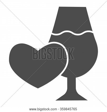 Heart Shape And Glass Of Wine Solid Icon. Romantic Date Place With Wineglass And Heart Glyph Style P
