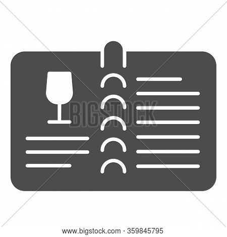 Valuable Wine Menu Or Wine Book Solid Icon. Menu With Alcohol Drink Glass And Text Glyph Style Picto