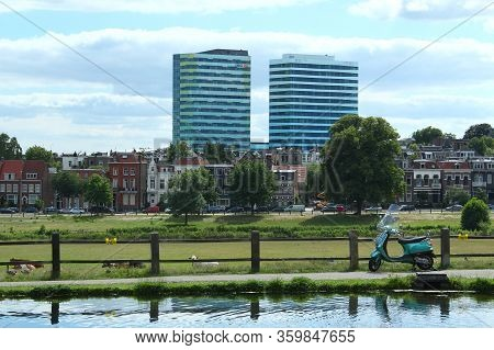 Arnhem, Netherlands - July 3, 2019: View From Park Sonsbeek At Wtc Office Buildings And The Meadows