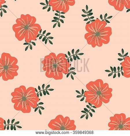Afloral Seamless Pattern With Hand Drawn Flowers. Pink And Maroon Stylized Flowers On A White Backgr