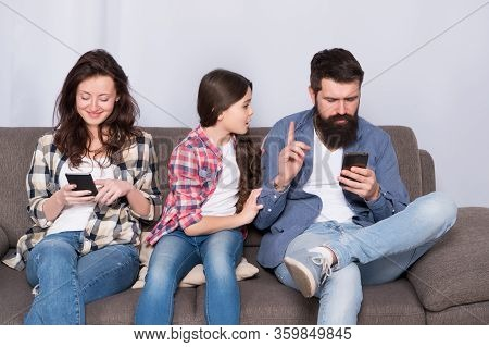 Offended Feelings. Stop Ignoring Kid. Stuck In Online. Ignored Child. Busy Parents Surfing Internet