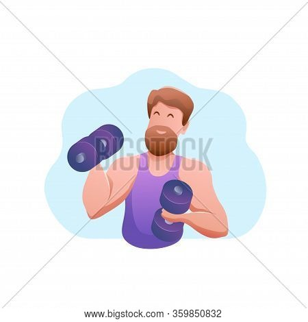 Sports Banner Flat Design Isolated. Young Muscular Caucasian Man With Dumbbells.