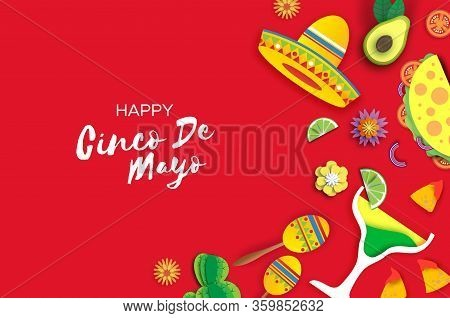 Happy Cinco De Mayo Banner. Sombrero Hat, Fan, Tacos. Coctail And Flowers In Paper Cut Style. Mexico