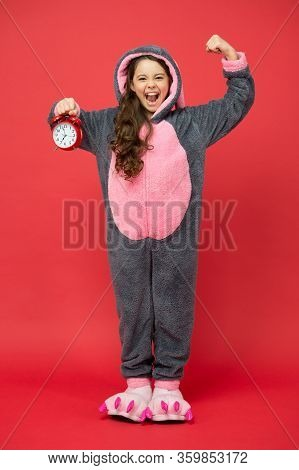 Angry Kid Wearing Pajama For Sleep. Kigurumi Pajamas For Your Comfort. Funny Child In Bunny Pajama.