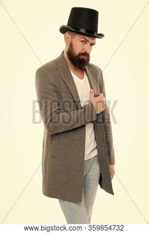 Fashion As Unique As You Are. Fashion Model. Bearded Man Wearing Classic Fashion Accessory. Hipster