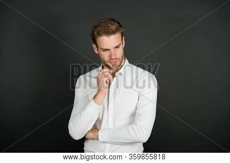 Mens Personal Care. Serious Man Dark Background. Handsome Guy With Unshaven Face. Skin Care Routine.