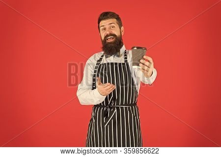 This Is For You. Bearded Man Hold Take Away Coffee. Brutal Waiter In Cafe. Mature Man Red Background