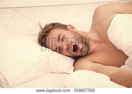Asleep And Awake. Sexy Man Sleep In Bed. Good Morning. Sweet Dreams. Male Health And Bachelor Lifest