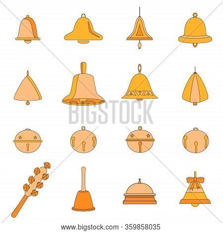 Set Of Different Vector Bells. Christmas Bells, Doorbell, Table Bell, Hand Bell, Hanging Ringing Rou