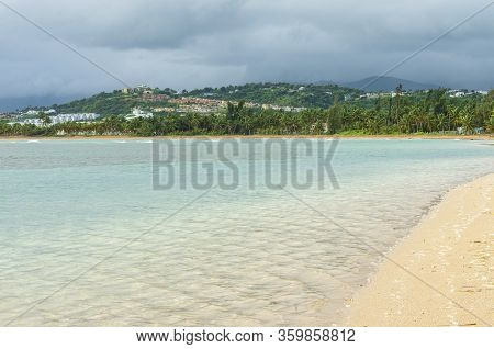 Northeast Coast Of Puerto Rico Along Beach And Mountains In Distance