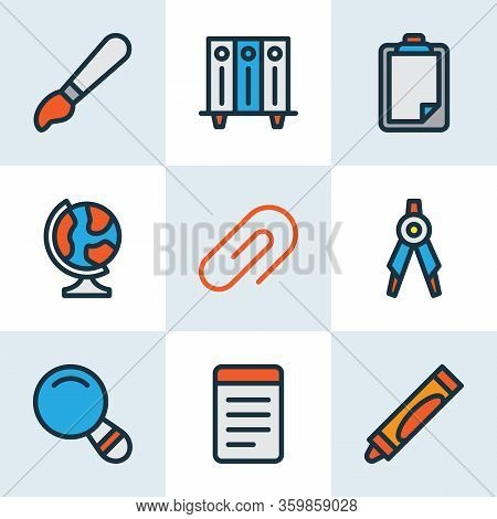Stationery Icons Colored Line Set With Clipboard, Brush, Drawing Compass And Other Paintbrush Elemen