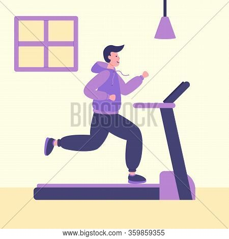 Men On Running Treadmill In Gym At Home In Self Quarantine, Protection From Virus. Home Fitness Or G