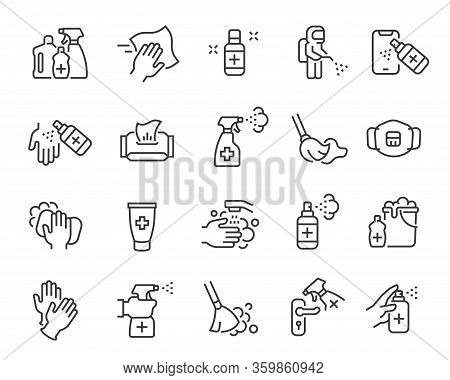 Disinfection And Cleaning Icon Set. Editable Vector Stroke.