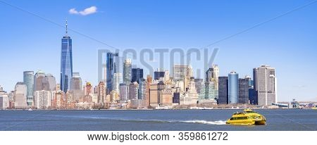 Panorama of Lower Manhattan of NYC  New York City taken from liberty island. This also known as Downtown Manhattan or Downtown New York the largest business district in state of New York and USA.