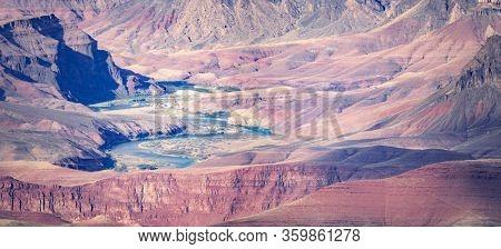South rim of Grand Canyon in Arizona USA Panorama