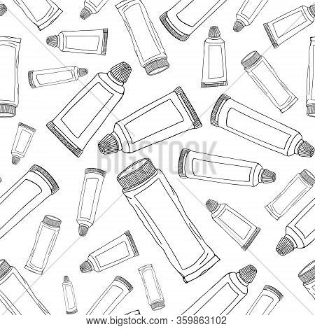 Seamless Pattern Set Toothpaste Personal Products Daily Oral Hygiene. Modern Abstract Design For Pap