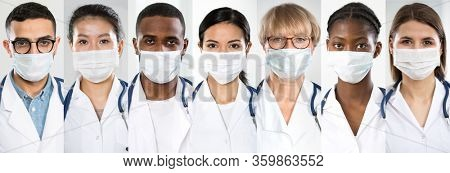 Coronavirus. A set of portraits team of doctors of different nationalities and ages in medical masks.