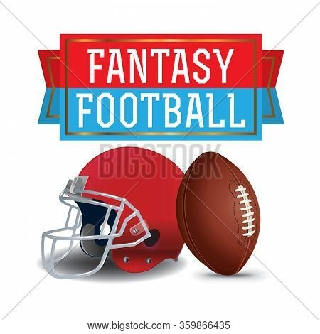 American Fantasy Football Ball Helmet And Banner Illustration