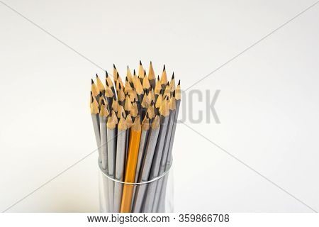 Simple Pencils For Office Workers. Pencils For Drawing. The Pencils Are In The Glass. Simple Pencils