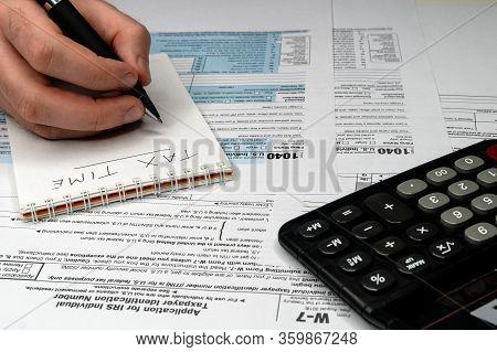 Tax Forms 1040. U.s Individual Income Tax Return. Tax Time.