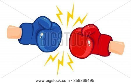 Vector Vintage Logo For A Boxing With Gloves. Vintage Emblem Of Two Boxing Gloves.