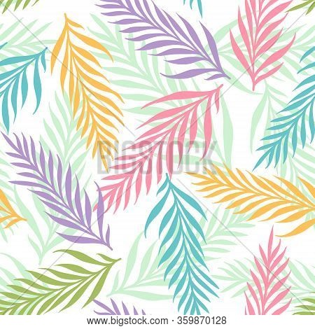 Vector Seamless Tropical Pattern With Exotic Leaves. Vector Floral Pattern With Tropical Plants. Col
