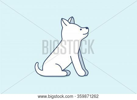Cute Little Puppy Of Siberian Husky Sitting, Waiting And Looking Up. Interested And Curious Small Do