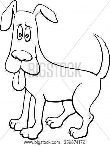 Black And White Ccartoon Illustration Of Startled Dog Comic Animal Character With Stuck Out Tongue C