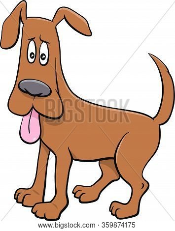 Cartoon Illustration Of Startled Dog Comic Animal Character With Stuck Out Tongue