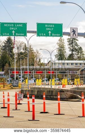 Surrey, Canada - Mar 29, 2020: Empty Car Lanes At Canada Usa Border Checkpoint
