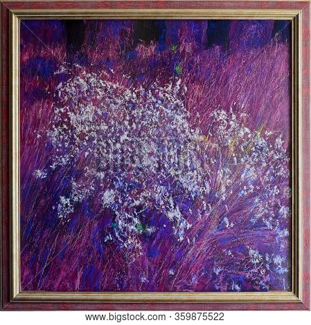 Handmade Drawing Pastel On Paper. White Flowers On A Purple. Pastel On Hardboard In The Frame 50x50