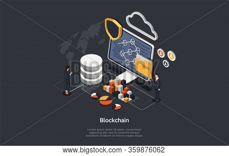 Isometric Blockchain, Teamwork And Cryptocurrency Concept. Isometric Digital Blocks Connection With