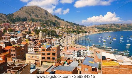 Titicaca Lake Bolivia 16, August Panoramic View Of Copacabana Town Bay Of The Lake With Moored Boats