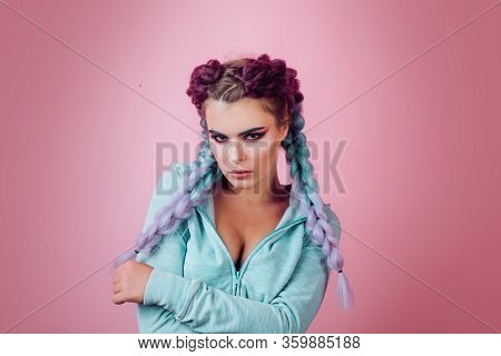 Girl With Braided Hair Style. Hairdresser Salon. Fancy Look, Braided Cutie. Little Girl With Cute Br