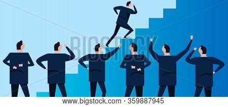 Step Staircase To Success. Group Of Businessman Coworker Employee In Company Corporation Standing Lo