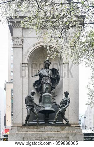 New York City - Mar 29, 2020: Memorial To James Gordon Bennet, The Founder, Editor And Publisher Of