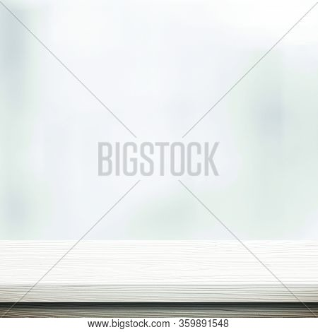 White Table Presentation, Desk And Blur Background, Empty Wood Counter, Shelf Surface Over Blur Rest