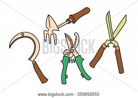 Set Of Vector Hand Drawn Garden Small Shovel Rake, Pruner, Sickle And Metal Farm Secateur.