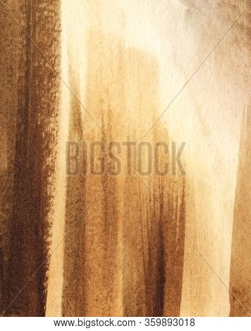 Abstract Watercolor Background Of Brown Shades With Vertical Lines And Light Stains. Sunlight On Rou